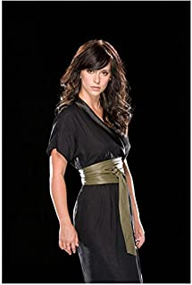 Jennifer Love Hewitt 8 Inch x 10 Inch Photograph Ghost Whisperer Criminal Minds I Know What you Did Last Summer Black Dress Wide Olive Green Belt Black Background kn