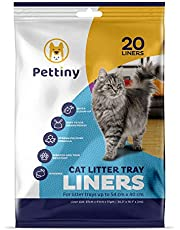 Pettiny 20 Cat Litter Tray Liners with Drawstrings Scratch Resistant Bags for Litter Box