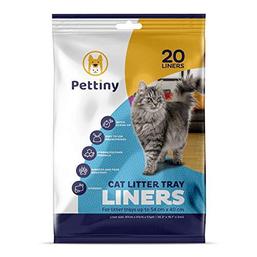 Pettiny 20 Katzentoilettenbeutel mit Zugbändern Kratzfeste Tüten für mittel und groß Katzenklo