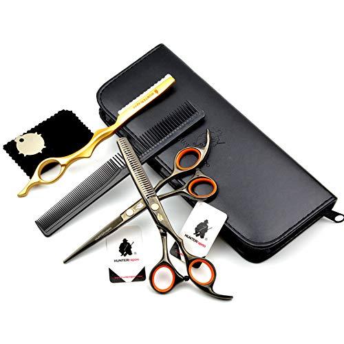 Ciseaux Coiffure Combinaison Set Super Sharp Professionnel Ciseaux de coiffeur Outil Salon Mince Trousse 5.5 Pouce Parfait pour les femmes et les hommes (NOIR)