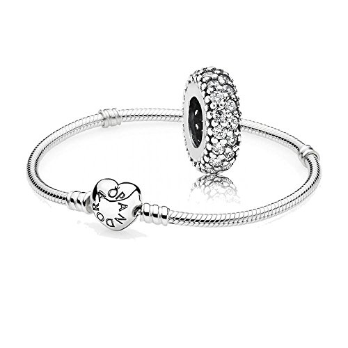 Original Pandora set regalo - 1 argento Bracciale con cuore inseriscile 590719 e 1 argento tra element grado di-Inspiration 791359CZ, Argento, cod. 590719-16 + 791359CZ