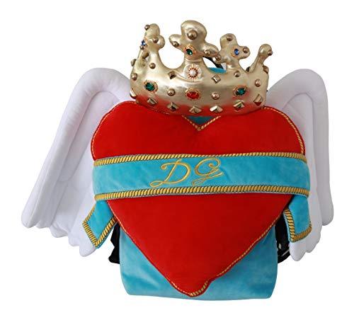 Dolce & GabbanaRed Blue Heart Wings DG Crown School Backpack