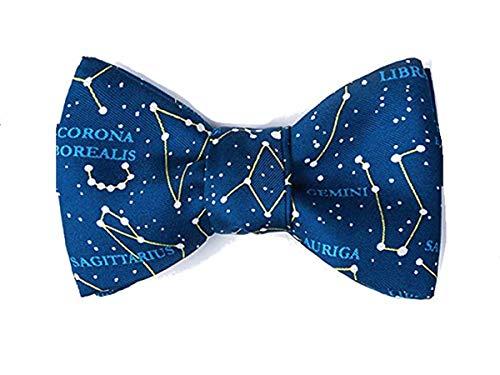 Herren Fliege zum Selbstbinden, 100 % Seide, Sonnensystem, Astronomie, Sternbilder, Blau