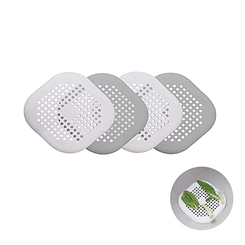 DILISEN 4 Piezas de Protector de Drenaje de Silicona,con Filtro de Ventosa, Fregadero, Ducha, colector de Cabello, Tapa de desagüe de bañera, Adecuado para Cocina, baño, Blanco Roto