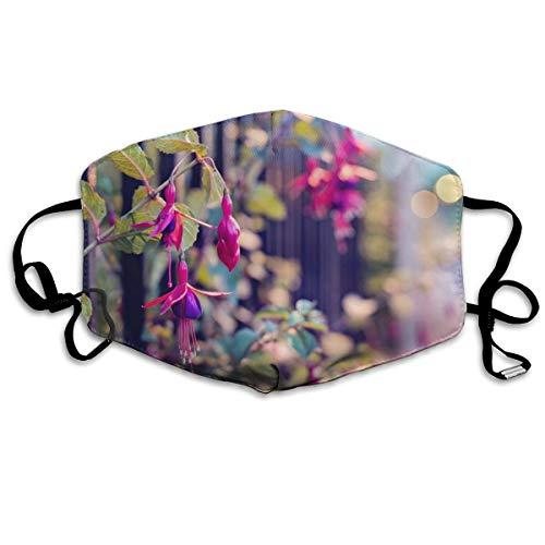Homect Nahaufnahmen Naturstraßen Blumen Zäune Fuchsia Unisex Vollabdeckung Gesichtsmaske Bandanas UV-Schutz Halstuch Gaiter Stirnband