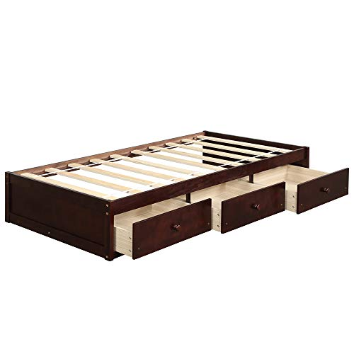 Bed Frame Twin with 3 Drawers,JULYFOX Pine Wood Daybed No Headboard No Box Spring Need Sturdy Heavy Duty Construction Space Saving Low Profile for Kids Teens Juniors Single Adults Brown