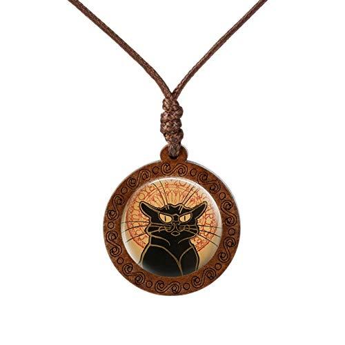 YUNMENG Colgante de Gato, Collar de Madera Real, patrón de Gato de Dibujos Animados, Collares de Animales de Cristal Redondo, Collares Gargantilla, joyería para Mujer y niña