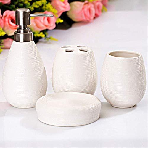 ZYQHJKLHK Cuatro Juegos de Traje de cerámica Suministros de baño Suministros de Limpieza dispensador de jabón de baño Accesorios de baño baño para el hogar Suite Blanco