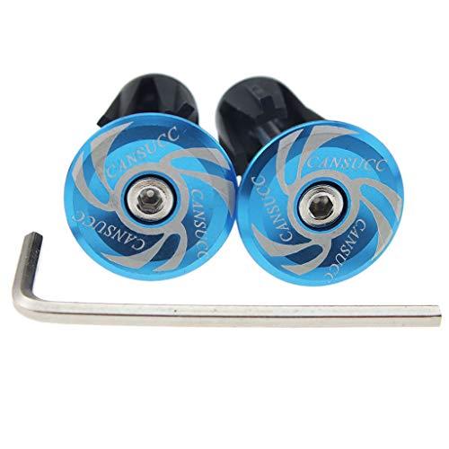 freneci 1 Pair Handlebar End Plugs Caps MTB Bike Bar Grips Stoppers Covers - Blue
