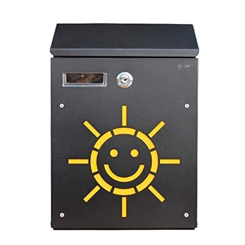 CMmin vergrendelde brievenbus, postbussen ontwerper vergrendeling medium capaciteit verzinkt staal, wandmontage mailbox, mailbox E-mail (Kleur: zwart)