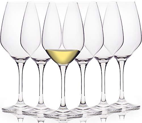 FAWLES Crystal White Wine Glasses Set of 6, 15 Ounce Laser Cut Rim Stemmed...