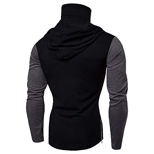 Fastbot Sweatshirts for Mens Mask Skull Splicing Pullover Long Sleeve Hooded Sweatshirt Tops Blouse Black