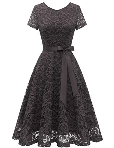 Bridesmay Women's Floral Lace Short Sleeve Lace Dress for Cocktail Party Wedding Bride Bridesmaid Grey L