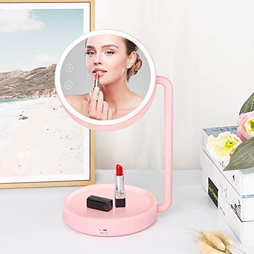 Makeup Mirror with Lights Desk Lamp 3 Color Lighting Modes Lighted Vanity Mirror Double Sided product image