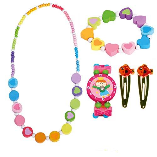 Bino Mädchenschmuck Kinderschmuck Holzschmuck 5 TLG. Set Motiv Regenbogen - Halskette Armband Regenbogen Herz Armbanduhr 2 Haarspangen