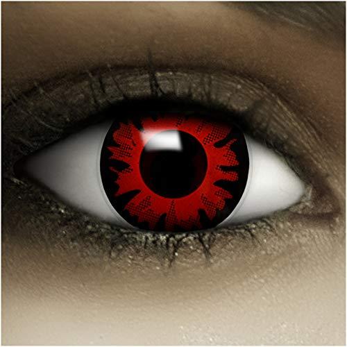 Farbige Kontaktlinsen ohne Stärke Bella + Kunstblut Kapseln + Kontaktlinsenbehälter, weich ohne Sehstaerke in rot und schwarz, 1 Paar Linsen (2 Stück)