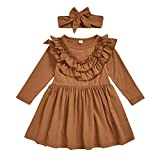 CM C&M WODRO Toddler Fall & Winter Baby Girl Dress Outfit Clothes Cotton Ruffled Pullover Dress (Brown, 4-5T(110))