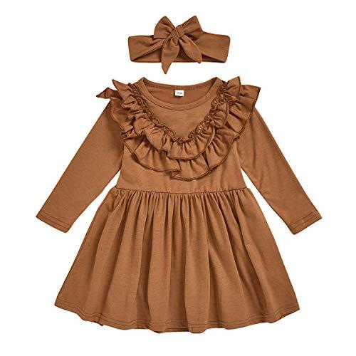 CM C&M WODRO Toddler Baby Girls Clothes Dresses Outfits Cute Ruffle Princess Party Tutu Bowknot Dress (Caramel Colour, 2-3T(Size 90))