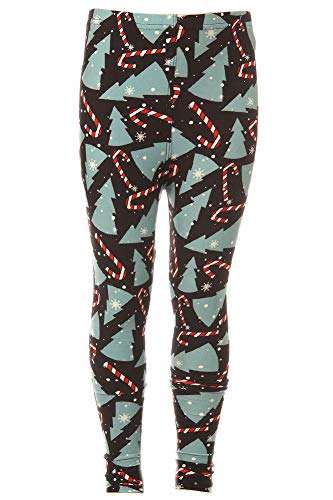 iZZYZX Kid's Candy Cane Christmas Tree Pattern Printed Leggings - S/M
