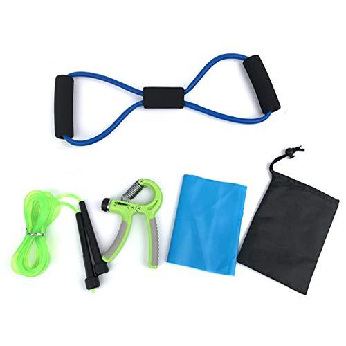Heilsa 5pcs Yoga Fitness Equipment Include 8 Shape Pull Rope Tube/Yoga Resistance Band/Adjustable Grip Strengthener/Skipping Rope/Mesh Bag