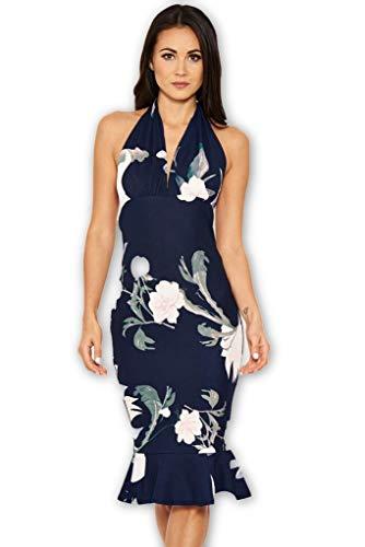 AX Paris Women's Floral Backless Fishtail Midi Dress(Navy, Size:8)