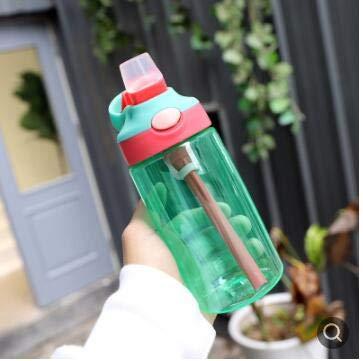 UKKD Botella para beber Botella De Agua De Alimentación Portátil De 480 Ml Para Niños Con Taza De Agua De Paja
