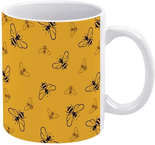 Taza de café con diseño de insectos y abejas amarillas