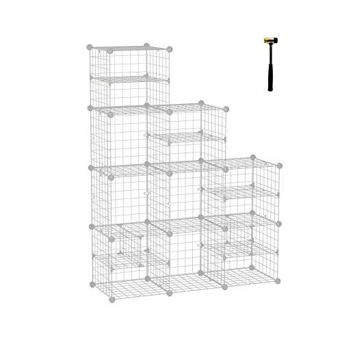ANWBROAD Cube Storage Organizer 9-Cube Unit DIY Modular Closet Cabinet Bookshelf Closet Organizer Storage Shelf Rubber Hammer Plastic Book Case Cabinet Shelves for Bedroom Office Living Room ULCS009T