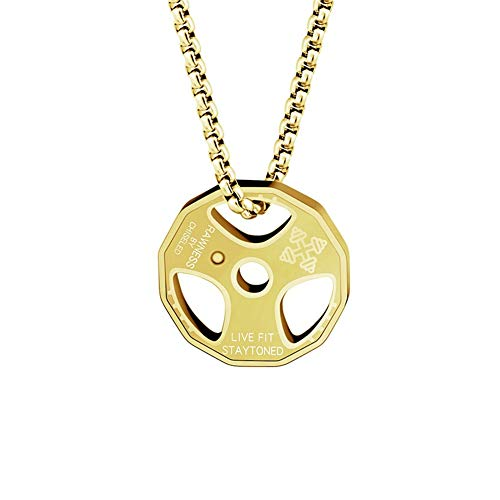 AILUOR Men Women's Dumbbell Pendant Necklace Stainless Steel Couples Barbell Pendant Fitness Gym Sports Dumbbell Weight Lifters Barbell Chain Jewelry (Gold-R)