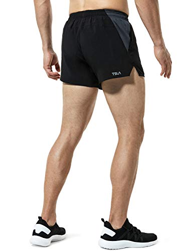 TSLA Men's Active Running Shorts, Training Exercise Workout Shorts, Quick Dry Gym Athletic Shorts with Pockets, 4 Inch(mbh24) - Black, X-Large