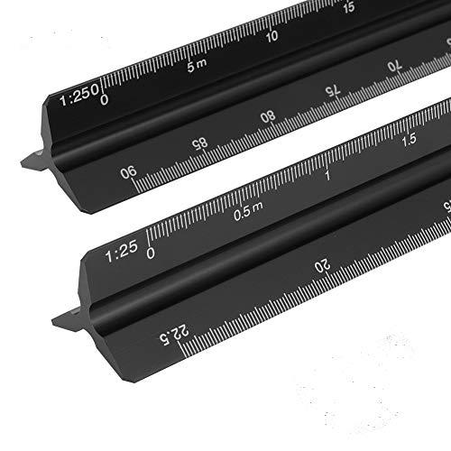 tiopeia 2 Stücke Maßstab Lineal 30 cm Dreikantlineal Lineal Aluminium Scale Ruler :1:20, 1:25, 1:50, 1:75, 1:100, 1:125/1:100, 1:200, 1:250, 1:300, 1:400, 1:500