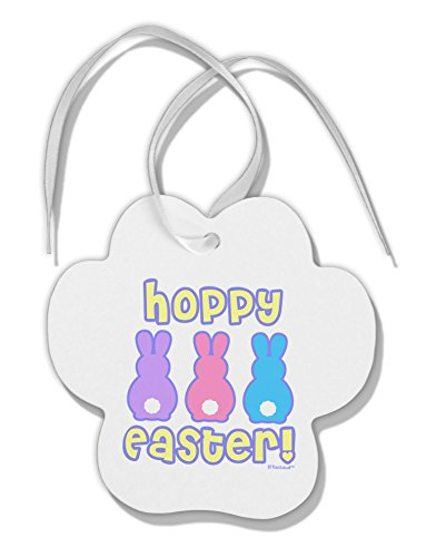 TOOLOUD Three Easter Bunnies - Hoppy Easter Paw Print Shaped Christmas Ornament