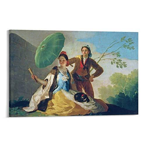 Francisco De Goya Poster mit Sonnenschirm, dekoratives Gemälde, Leinwand, Wandkunst, Wohnzimmer, Poster, Schlafzimmer, 50 x 75 cm