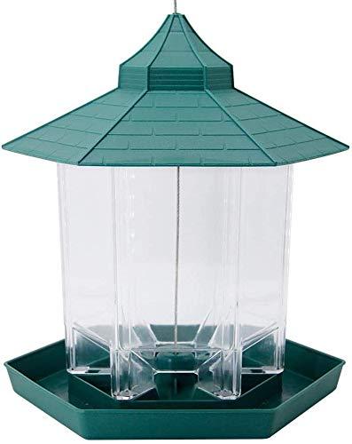 JFZCBXD Panorama Bird Feeder Kunststoff Transparent Sechseck geformte Vogel-Zufuhren Hanging für Garten-Hof-Dekoration