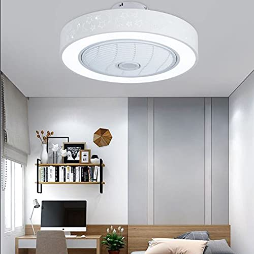 AKEFG Ventilador de Techo con luz, Control Remoto LED Modos de iluminación Totalmente Regulables Cuchillas acrílicas Invisibles Semi empotradas, Dormitorio, Sala de Estar