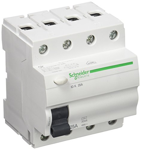 Schneider Electric A9Z05425 ID K, Interruptor Diferencial, Clase AC, 4P, 25A, 30mA, 68mm x 72mm x 81mm, Blanco