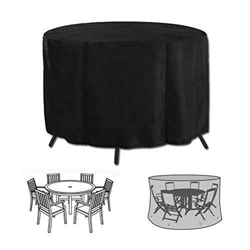 Garden Patio Furniture Covers Waterproof Round Outdoor Rattan Chairs Table Cover (73 * 43inches)