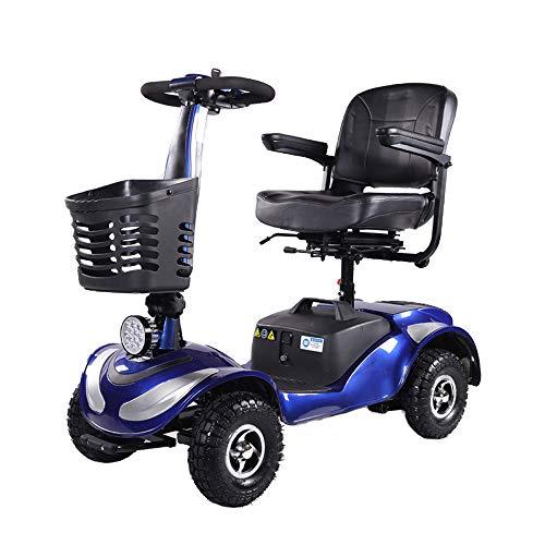Scooter met 4 wielen, extra bust, lange reikwijdte, bewegingsmelder voor volwassenen, fauteuil gemotoriseerd, compact, led-koplamp.
