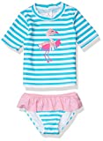 KIKO & MAX Girls' Swimsuit Set with Short Sleeve Rashguard Swim Shirt, Stripe Flamingo, 5