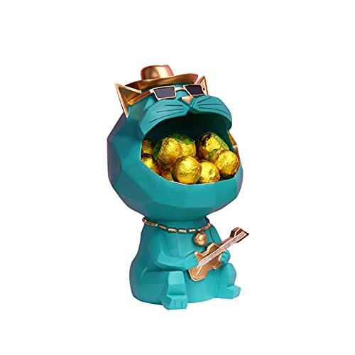 KLFD Adornos De Almacenamiento De Gato De Boca Grande Llavero Titular De La Joyería Snack Candy Bandeja De Almacenamiento De Frutas Escritorio Almacenamiento De Objetos Pequeños,Verde