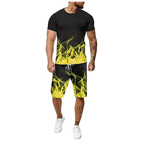 Chándal casual de verano para hombre con manga de Shiort Jogging atlético Sport Set 3D Flame Fitness Running 2 piezas traje