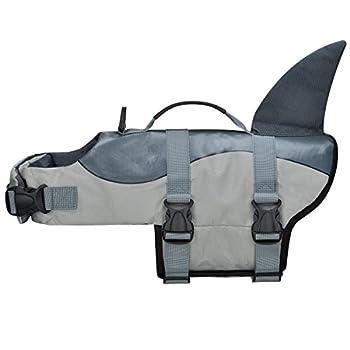 COVVY Gilets de Sauvetage pour Chiens Gilet de Flottaison Animaux Gilet Natation Réglable Gilet de Sauvetage avec Poignée Pet Life Jacket (L, Gris)