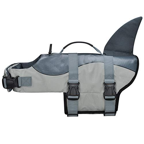 COVVY Hundeschwimmwesten für Haustiere, Schwimmweste, Hai, Schwimmweste, Welpen-Badeanzug, verstellbarer Mantel für Hunde mit Griffen für einfache Rettung (M, Grau)
