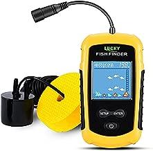 LUCKY Kayak Portable Fish Depth Finder Water Handheld Fish Finder Sonar Castable Kayak Boat Fishfinder Transducer Fishing LCD Display FFC1108