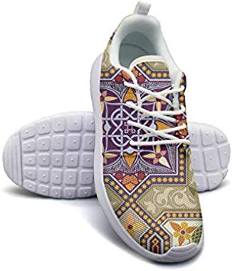 Hobart dfgrwe Byzantine Moroccan Ethnic Colorful Pattern Blue Womans Flat Bottom Casual Shoes Sneakers Low Help Sneakers
