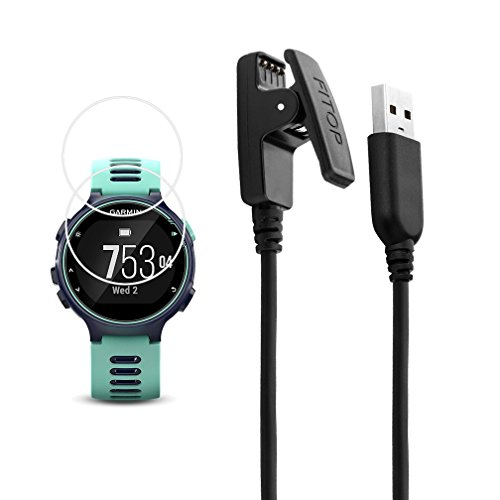 JIUJOJA for Garmin Forerunner 735xt Charger Charging Clip Synchronous Data Cable and 2Pcs Free HD Tempered Glass Screen Protector Replacment Charger for Garmin Forerunner 735 Smart Watch