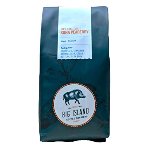 Kona Peaberry Coffee (10 oz) - Hawaiian Kona Coffee Beans Whole, 100% Peaberry Coffee. Medium Roasted by Big Island Coffee Roasters