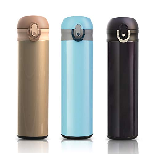 Enllonish Edelstahl Trinkflasche - 500ml Thermosflasche, Vakuum doppelwandige Isolierflasche, isolierte Wasserflasche, Reise Tee Kaffee Thermoskanne-Blau