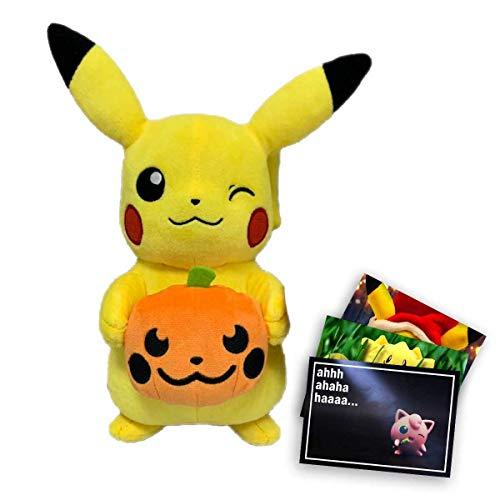 Lively Moments Pokemon Plüschtier ca. 20 cm Halloween Edition Plüschfigur Pikachu mit Kürbis und Exklusive GRATIS Grußkarte