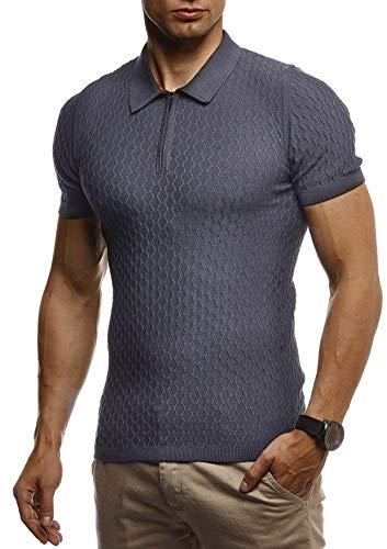 Leif Nelson Herren Sommer T-Shirt Poloshirt Slim Fit aus Feinstrick Cooles Basic Männer Polo-Shirt Crew Neck Jungen Kurzarmshirt Polo Shirt Sweater Kurzarm LN7315 Anthrazit X-Large